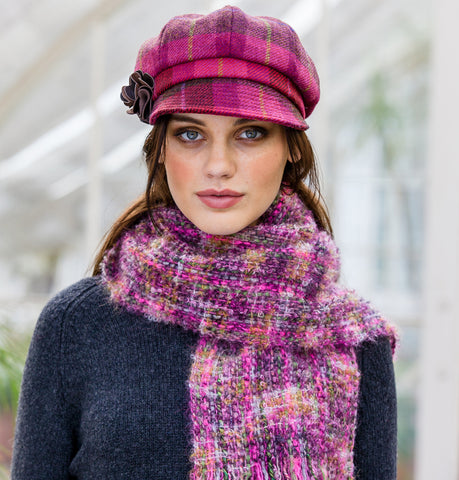 Ladies Newsboy Cap - Pink Check Front