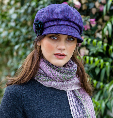 Ladies Newsboy Cap - Purple Herringbone Front