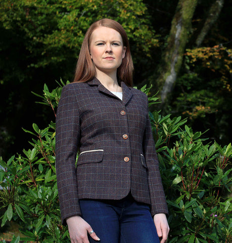Ladies Short Tweed Jacket - Brown & Cream Windowpane