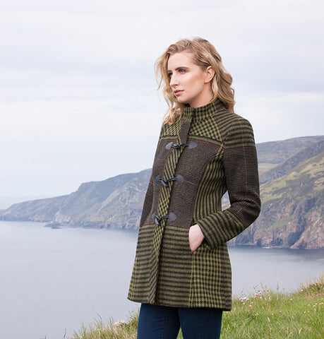 Tweed Duffle Coat - Green Check Houndstooth