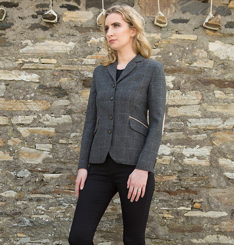 Ladies Tweed Jacket - Grey Windowpane