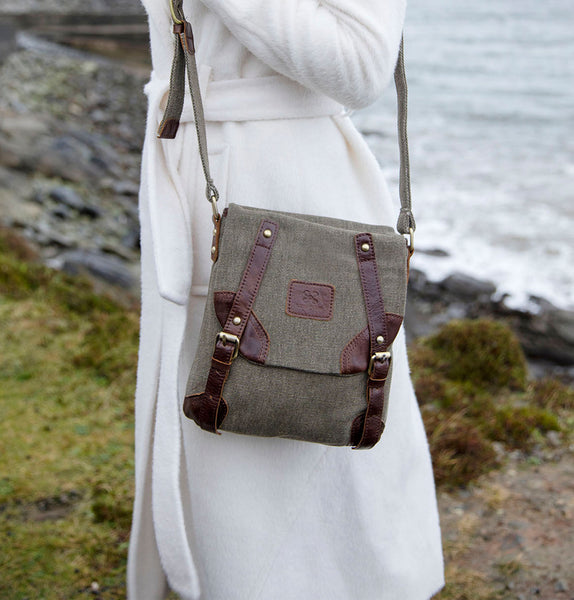 Tweed and Leather Buckle Satchel