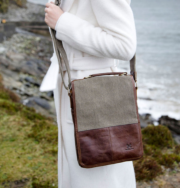 Tweed and Leather Satchel Bag