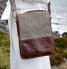 Tweed and Leather Satchel Bag Details