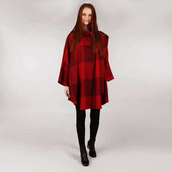 Ladies Tweed Cape Shawl Red Check Full