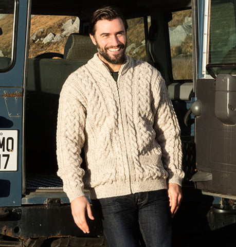 Traditional Aran Cardigan with Zip
