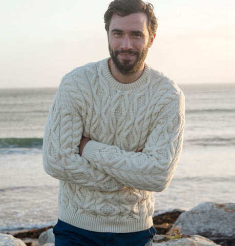 Supersoft Traditional Crew Neck Aran Sweater