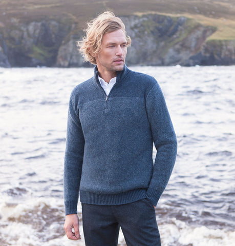 Fisherman Out of Ireland Two Tone Aran Sweater - Navy