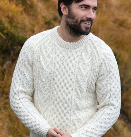 Hand Knit Crew Neck Aran Sweater Natural