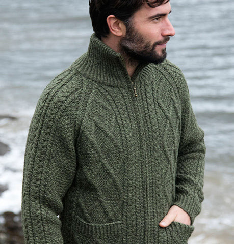 Hand Knit Aran Cardigan with Zip Olive Green