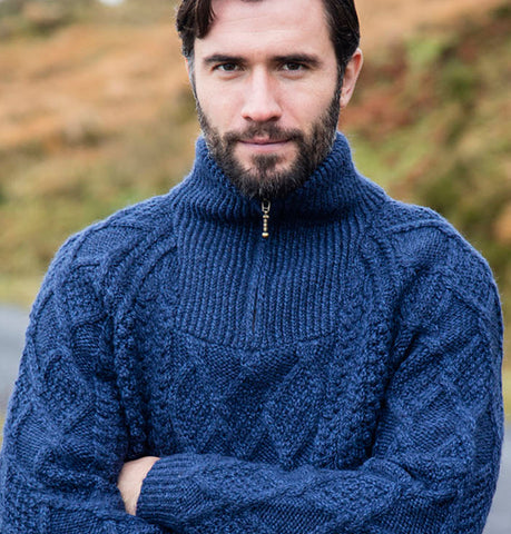 Hand Knit Aran Sweater with Half Zip Front