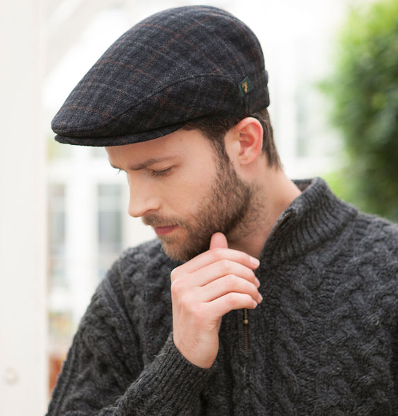 Traditional Flat Cap - Charcoal Mix Front