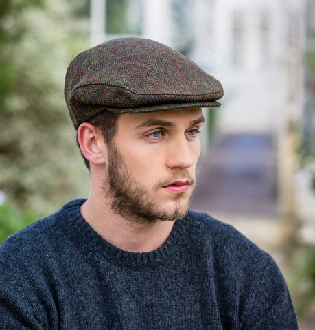 Traditional Flat Cap - Brown Herringbone with Red