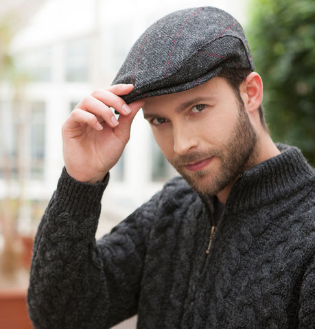 Traditional Flat Cap - Charcoal Herringbone with Red Front