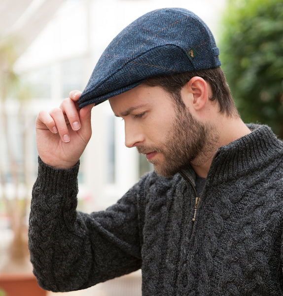 Traditional Flat Cap - Navy with Tan Front