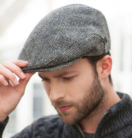 Traditional Flat Cap - Black & White Herringbone Fleck Front