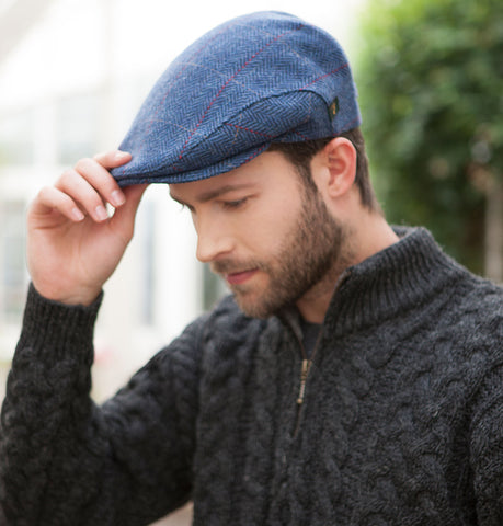Traditional Flat Cap - Blue with Red Front
