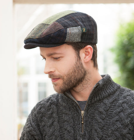Traditional Flat Cap - Green Mix Patchwork Front