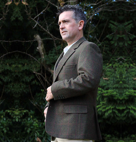 Classic Gents Donegal Tweed Sports Jacket - Green & Pink Windowpane Side