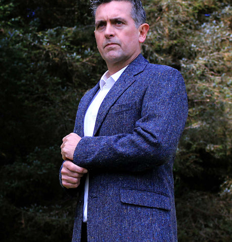 Classic Gents Donegal Tweed Sports Jacket - Navy Salt & Pepper