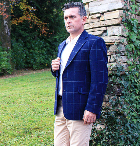 Classic Gents Donegal Tweed Sports Jacket - Navy Windowpane Front
