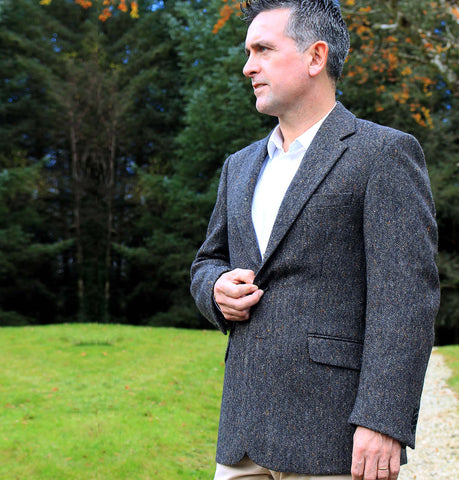 Classic Gents Donegal Tweed Sports Jacket - Grey Salt and Pepper Front