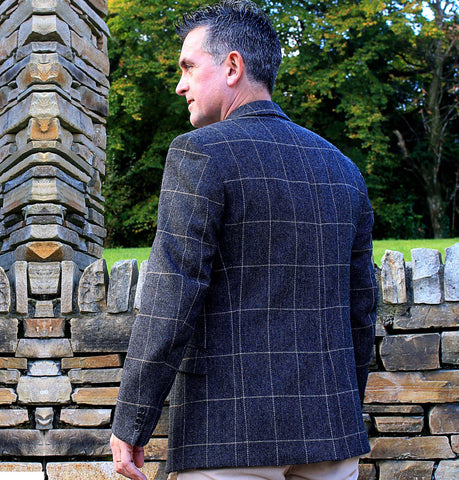 Classic Gents Donegal Tweed Sports Jacket - Grey & Beige Windowpane