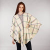 Throw Cape Shawl Cream, Purple & Green Windowpane Front