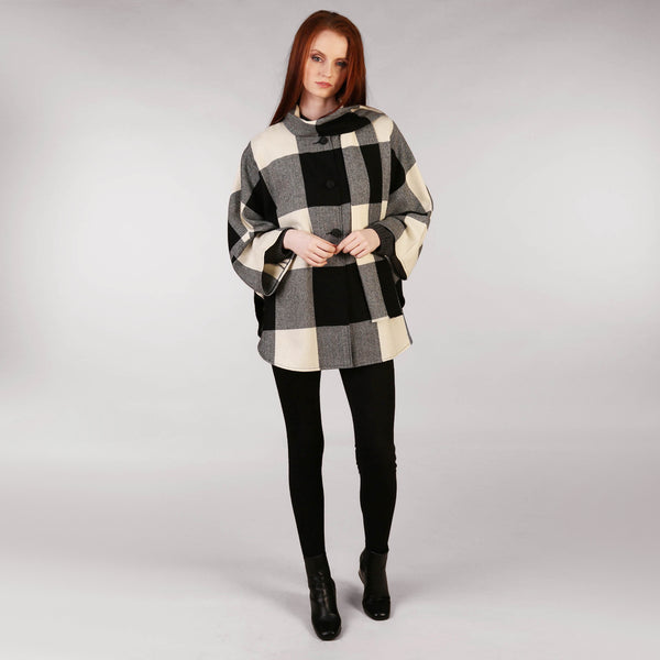 Ladies Tweed Cape Black and White Check Front