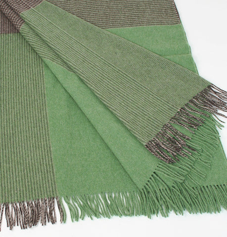 Irish Merino Wool and Lambswool Blanket - Green & Charcoal Front