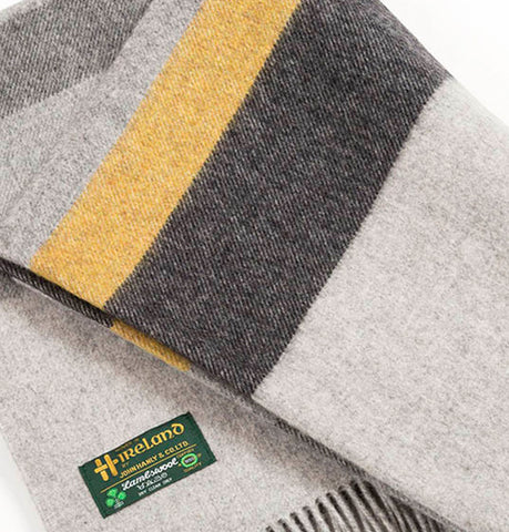 Irish Merino Wool and Lambswool Blanket - Light Grey, Charcoal and Yellow Front