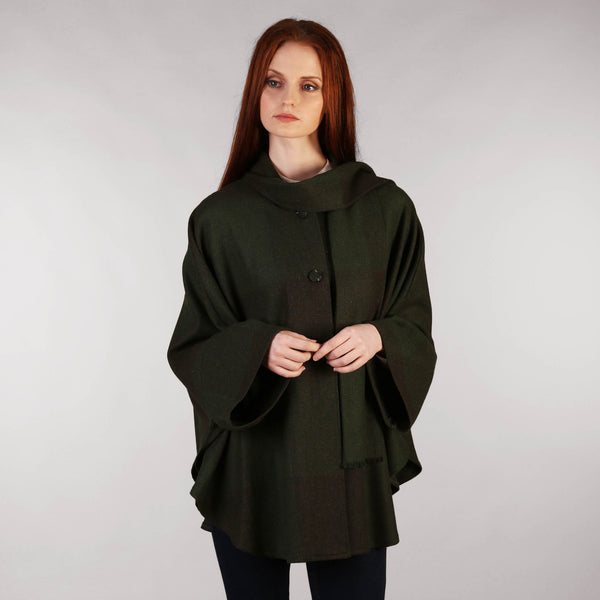 Ladies Tweed Cape Forest Green Full