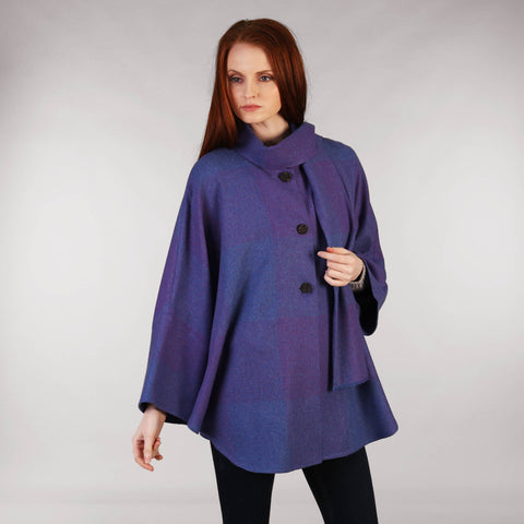 Purple Heather Cape Shawl Front