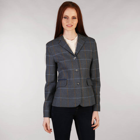 Ladies Tweed Jacket - Blue & Gold Windowpane Front