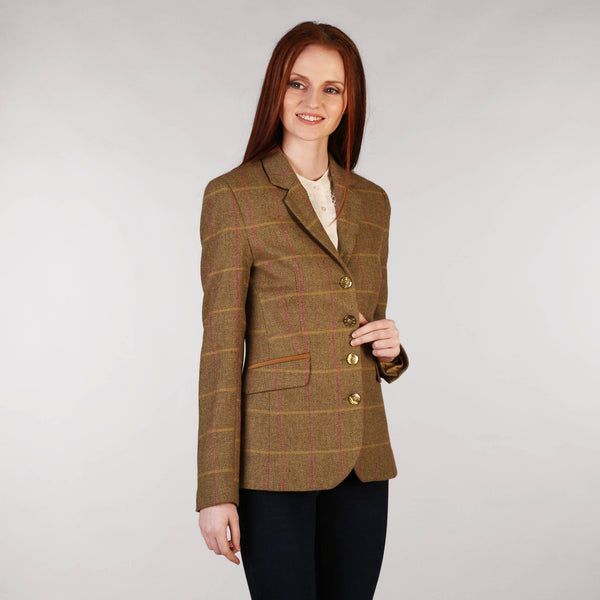 Ladies Tweed Jacket - Golden Brown & Pink Windowpane Front