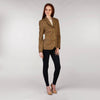 Ladies Tweed Jacket - Golden Brown & Pink Windowpane Full