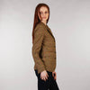 Ladies Tweed Jacket - Golden Brown & Pink Windowpane Side