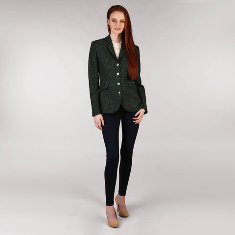 Ladies Tweed Hacking Jacket - Green Salt and Pepper Front