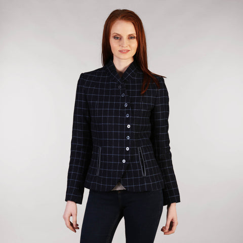 Ladies Tweed Jacket with Curve - Navy Windowpane Front