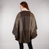 Throw Cape Shawl Brown Check Back
