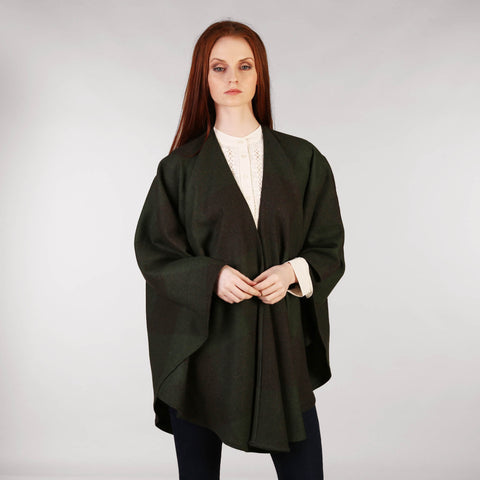 Throw Cape Shawl Forest Green Front