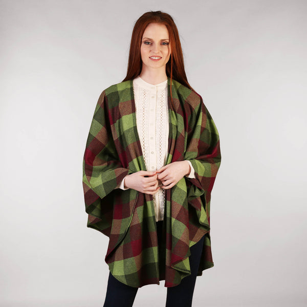 Throw Cape Shawl Green Wine Check
