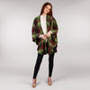 Throw Cape Shawl Green Wine Check Full