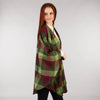 Throw Cape Shawl Green Wine Check Side