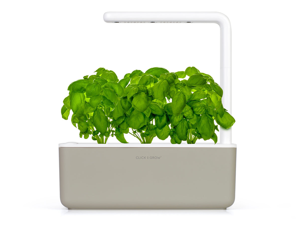 Grow basil at home with an indoor garden by Click & Grow. The best plant growing kit out there!