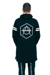 Hexagon long hooded black