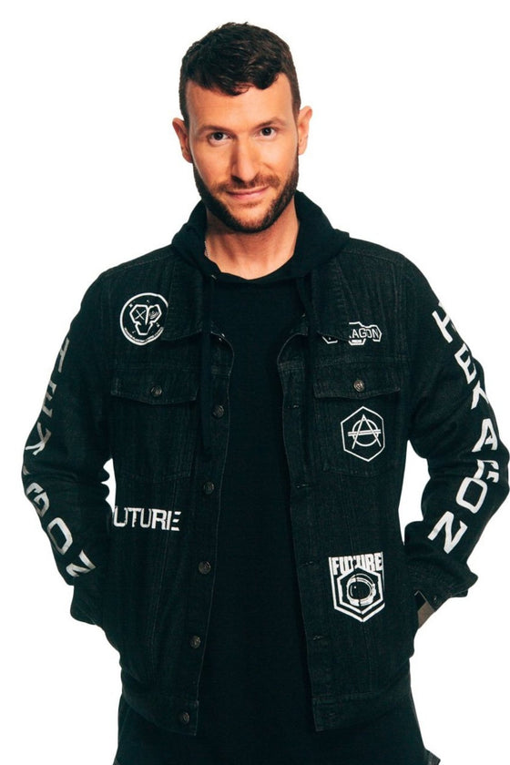Denim jacket black hexagon don diablo
