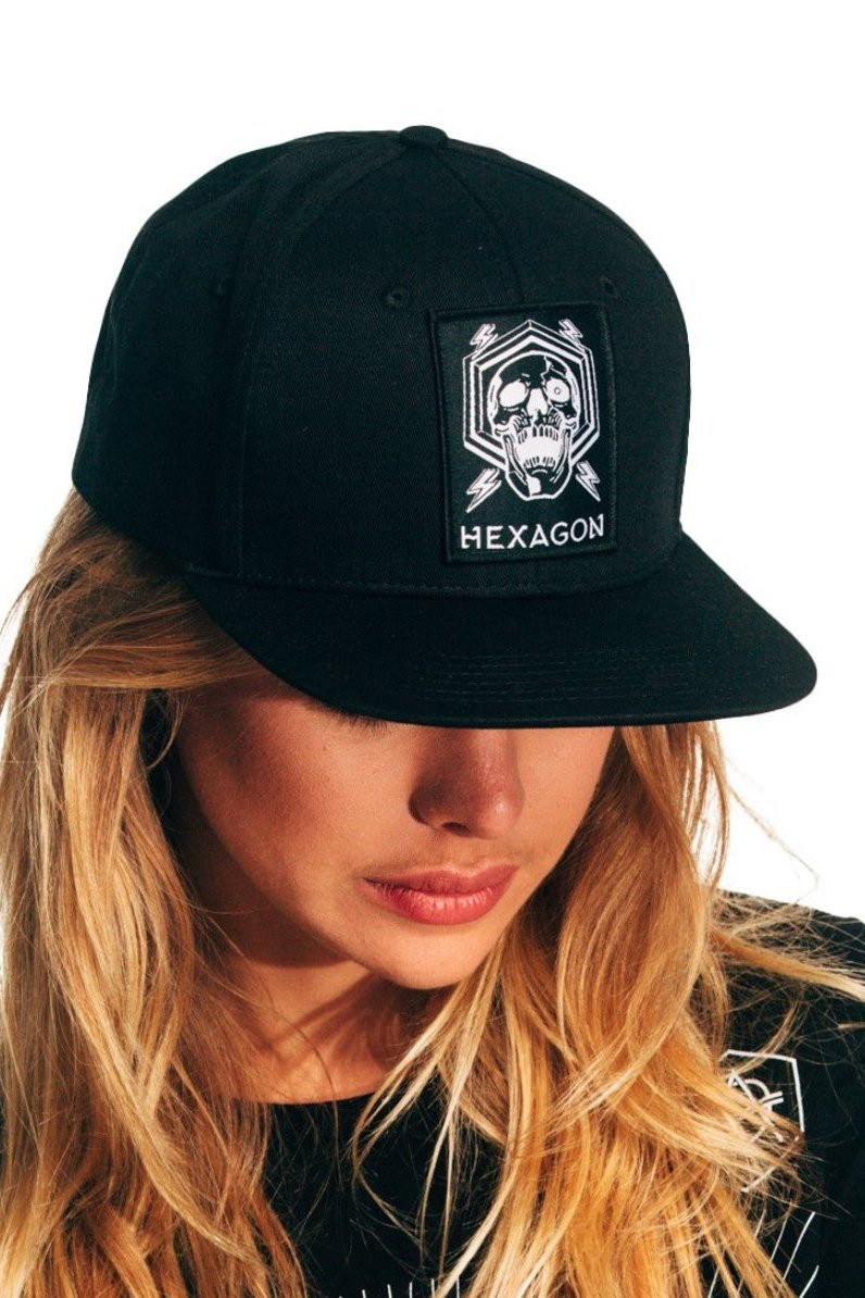 skull snapback cap hexagon don diablo
