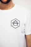 Hexagon logo tee white