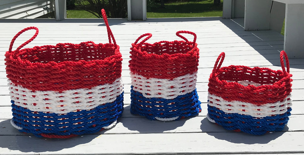 Maine Rope Baskets - Patriotic, Red White & Blue ~ Medium - Custom Cordage